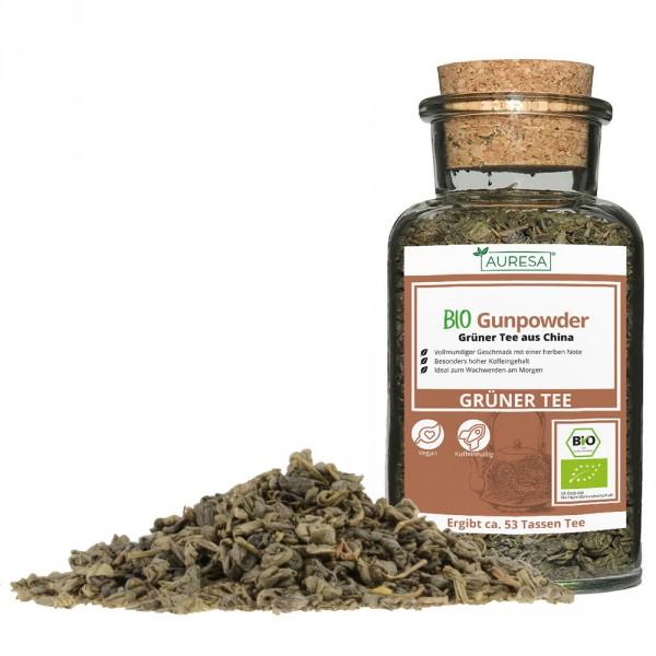 Loser grüner Tee Bio Gunpowder mit Glas