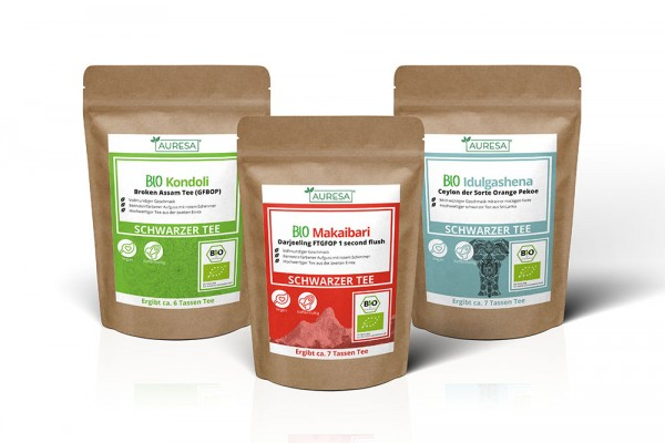 Set mit drei schwarzen Tees aus kontrolliert biologischem Anbau