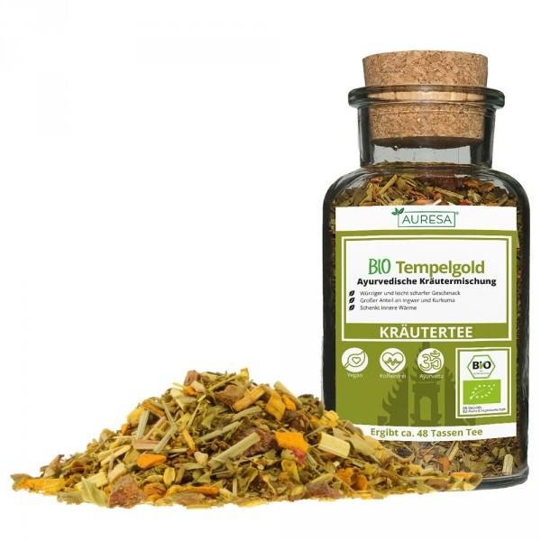 Ayurveda loser Kräutertee Bio Tempelgold mit Glas