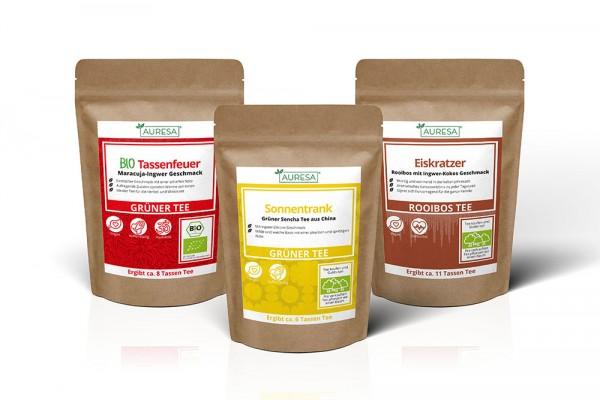 Rooibos Tee Eiskratzer, Grüner Tee Sencha Sonnentrank und Grüntee Bio Tassenfeuer
