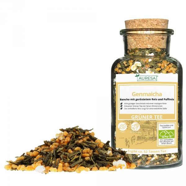 Loser grüner Tee Genmaicha mit Glas