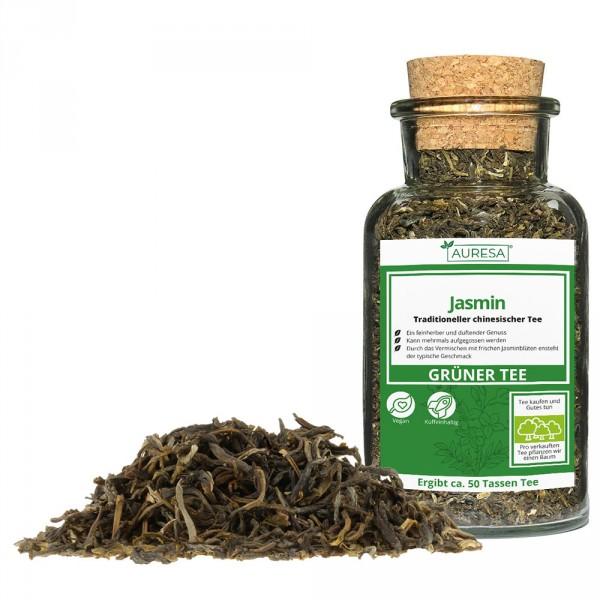 Loser chinesischer grüner Tee Jasmin mit Glas