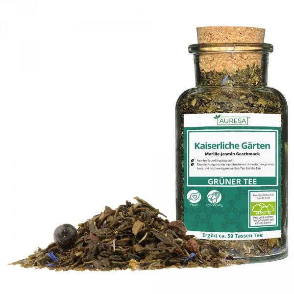 Loser grüner Tee Kaiserliche Gärten mit Glas