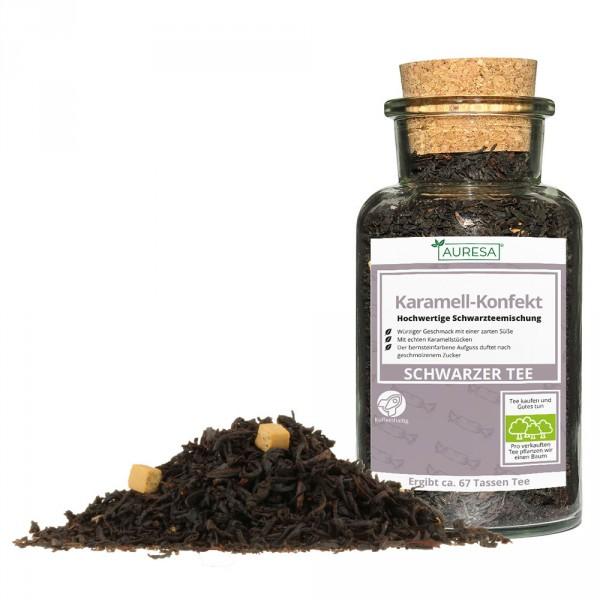 Aromatisierter loser Schwarztee Karamell-Konfekt mit Glas