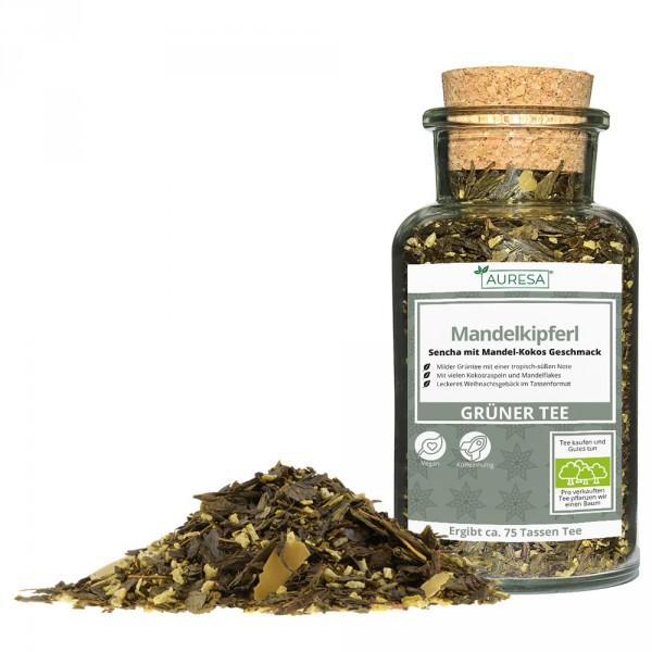 Loser grüner Tee China Sencha Mandelkipferl mit Glas
