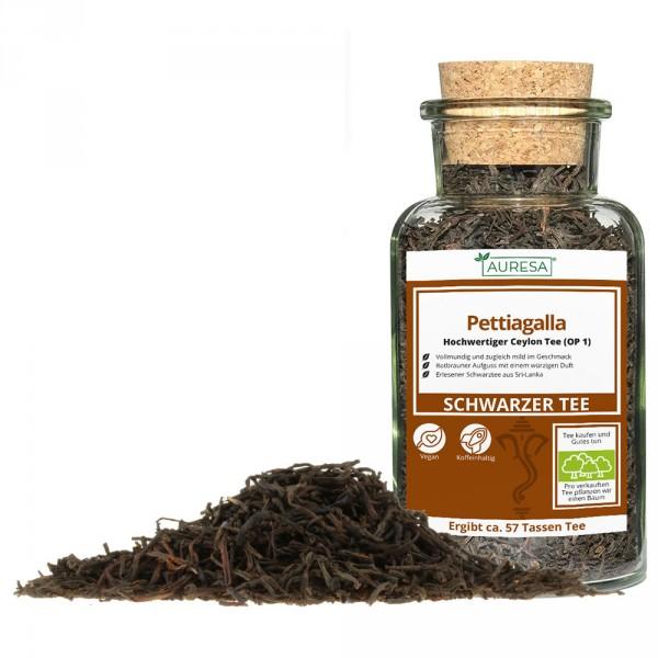 Loser Schwarztee aus Ceylon Pettiagalla mit Glas