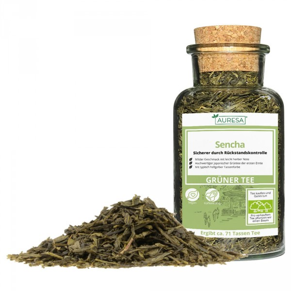 Loser grüner Tee Sencha mit Glas