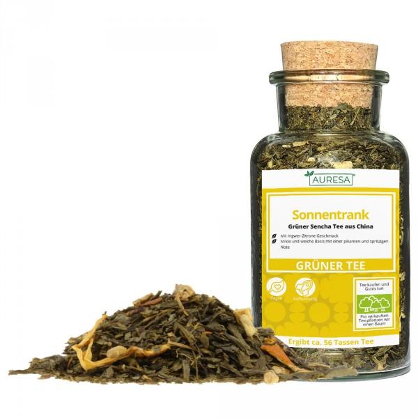 Loser grüner Tee China Sencha Sonnentrank mit Glas